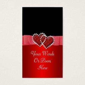 Red & Black Diamond Locking Hearts Wedding Business Card
