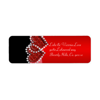 Red & Black Diamond Locking Hearts Wedding Label
