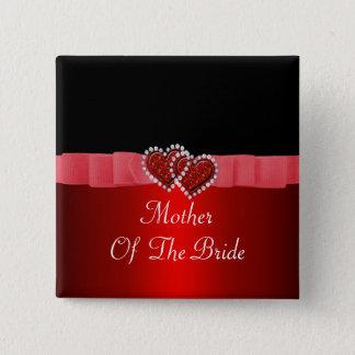 Red & Black Diamond Locking Hearts Wedding Pinback Button