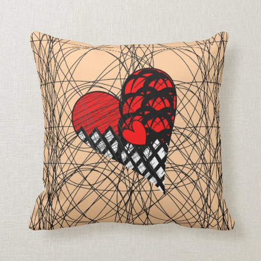 Throw Pillow Home Is Where The Doodle Is : Red Black Doodle Heart Scribble Pattern Throw Pillows Zazzle