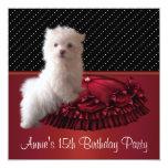 """Red Black Dot Puppy 15th Birthday Invitation 5.25"""" Square Invitation Card"""