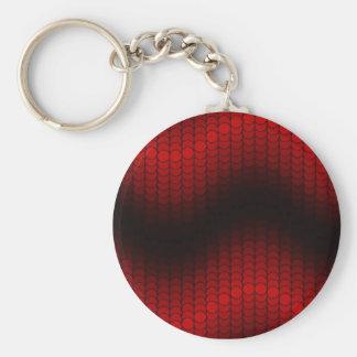 Red Black dot wave Basic Round Button Keychain