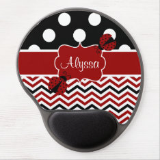 Red Black Dots Chevron Ladybut Personalized Gel Mouse Pad at Zazzle