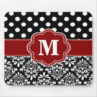 Red Black Dots Damask Monogram Mouse Pad.