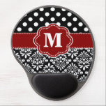 "Red Black Dots Damask Monogram Mousepad<br><div class=""desc"">Show off your personal style in a fun way with this red and black dots and damask monogram mousepad.</div>"