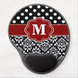 Red Black Dots Damask Monogram Mousepad