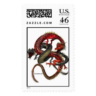 Red & Black Dragons Logo Postage Stamp