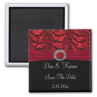 Red & Black Draped Baroque Date Magnet