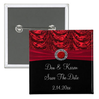 Red & Black Draped Baroque Save The Date Pins