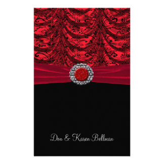 Red & Black Draped Baroque Stationery