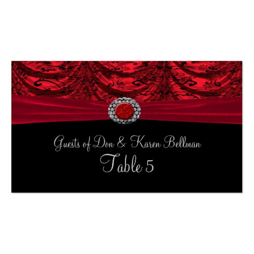 Red & Black Draped Baroque Table Double-Sided Standard Business Cards (Pack Of 100)
