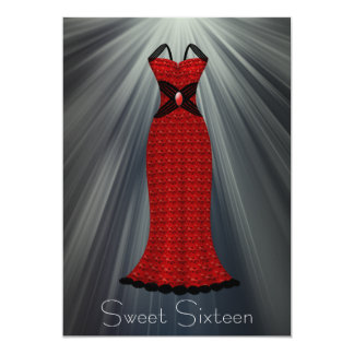 Red Black Dress Sweet 16 Party Card