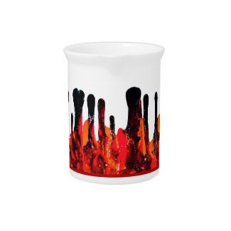 Red Black Drip Abstract Motif accent Beverage Pitcher