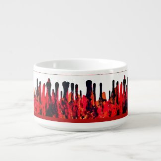 Red Black Drip Abstract Motif accent Bowl