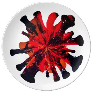 Red Black Drip Abstract Motif accent Dinner Plate