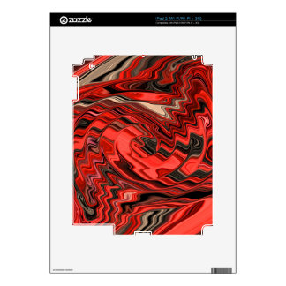 Red & Black Dynamic Abstract Spiral Design Pattern Skins For The iPad 2