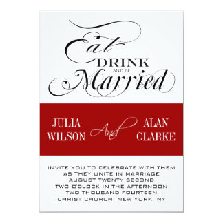 Red Black Eat, Drink, Be Married Wedding Invite