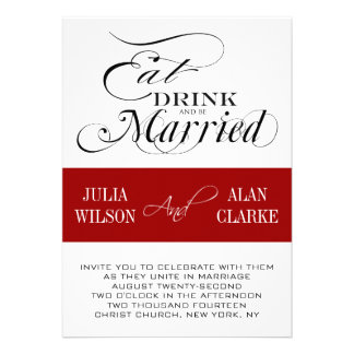 Red Black Eat Drink Be Married Wedding Invite
