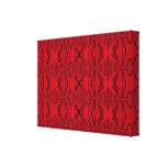 Red black elegant pattern stretched canvas print