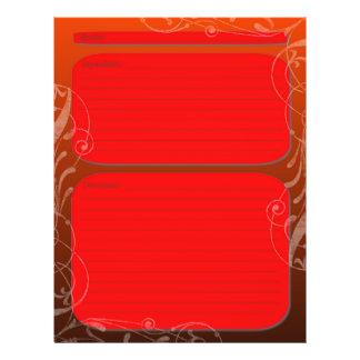 "Red black fade classy swirl recipe page 8.5"" x 11"" flyer"