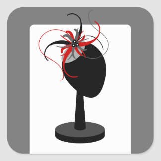 Red & Black Fascinator on Hat Stand Square Sticker