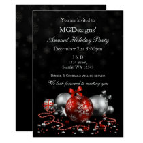 red black festive Corporate holiday party Invites
