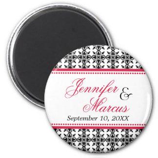 Red black filigree fancy wedding save the date refrigerator magnet