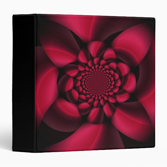 Red Black Floral 3 Ring Binder