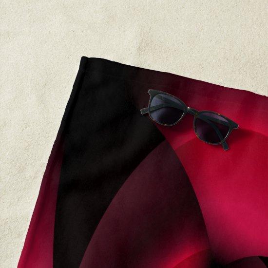 Red Black Floral Beach Towel