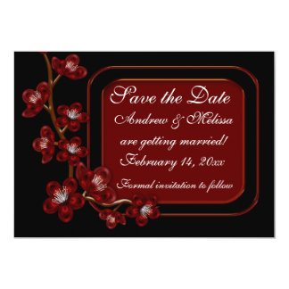 Red Black Floral Branch Card