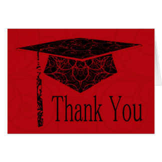 Red & Black Floral Cap Thank You Card