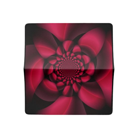 Red Black Floral Checkbook Cover