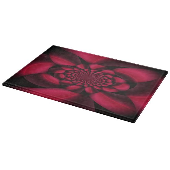 Red Black Floral Cutting Board