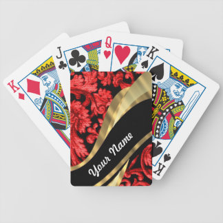 Red & black floral damask bicycle playing cards