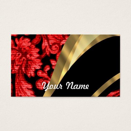 Red & black floral damask business card