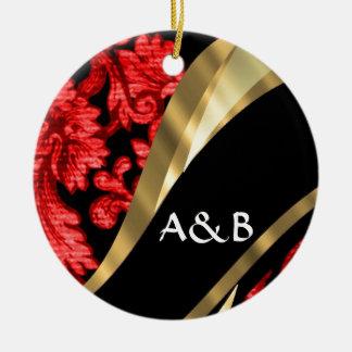Red & black floral damask ceramic ornament
