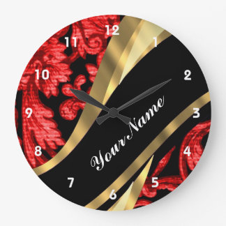 Red black floral damask wall clocks