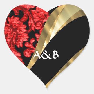 Red & black floral damask heart sticker