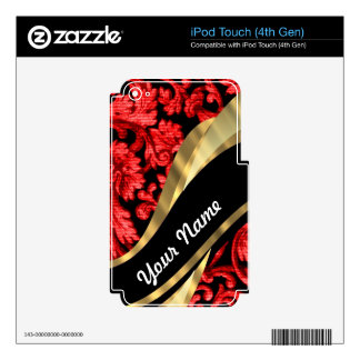 Red & black floral damask iPod touch 4G decals