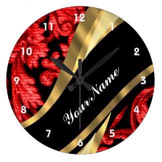 Red & black floral damask large clock