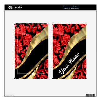 Red & black floral damask skins for kindle fire