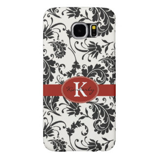 Red & black floral name / initial samsung galaxy s6 cases