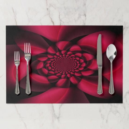 Red Black Floral Paper Placemat