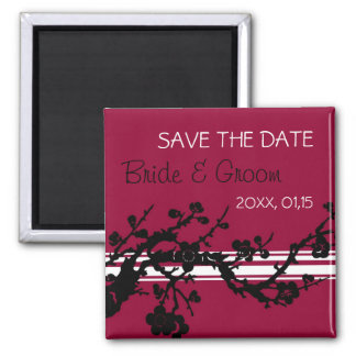 Red Black Floral Save the Date Wedding Magnet