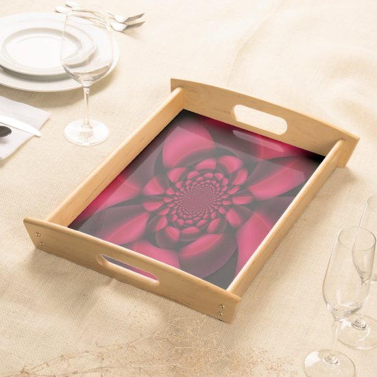 Red Black Floral Serving Tray