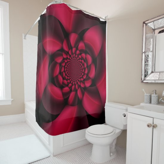 Red Black Floral Shower Curtain