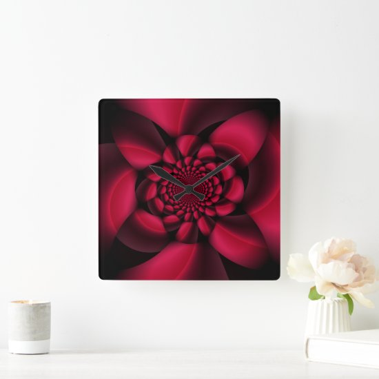 Red Black Floral Square Wall Clock