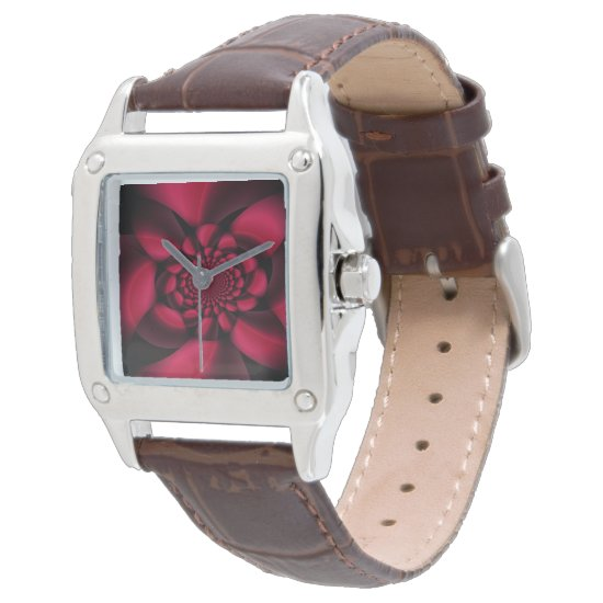 Red Black Floral Watch