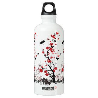 Red & Black Flower Aluminum Water Bottle