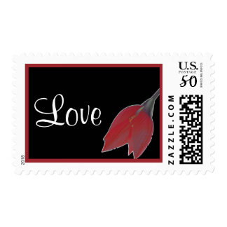 Red & Black Flower Love Stamp